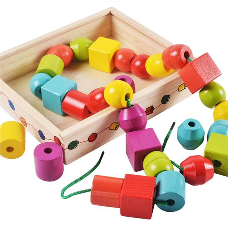 2020 Wooden Educational Block Toys Geometric Assembling Blocks String Shape Beads Arts & Crafts DIY Toys