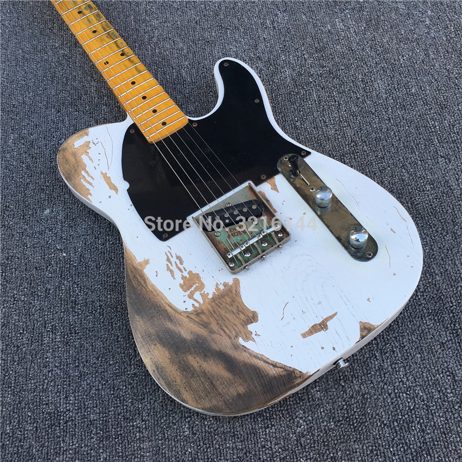 Manual customization,  electric guitars, antique do old white, real photos, factory  wholesale enlarge