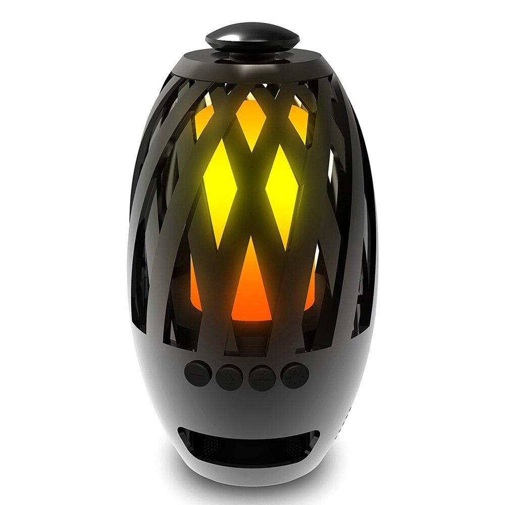 2in1 Luz de llama Bluetooth altavoz LED atmósfera lámpara estéreo altavoz portátil inalámbrico con bombilla de música para acampar al aire libre Woofer