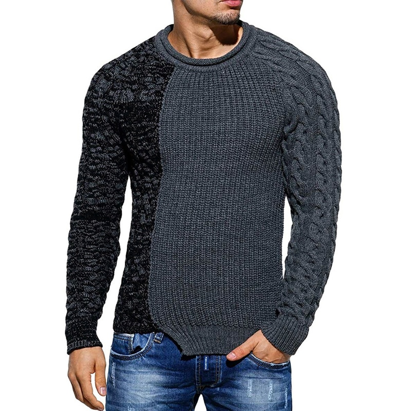 Men's Fashion Round Neck Personalized Color-blocking Knit Sweater All-match Slim Pullover Harajuku Sweater Men Sweetshirts aliexpress crew neck linen flower color sweater men s pullover knitted sweater men s wear