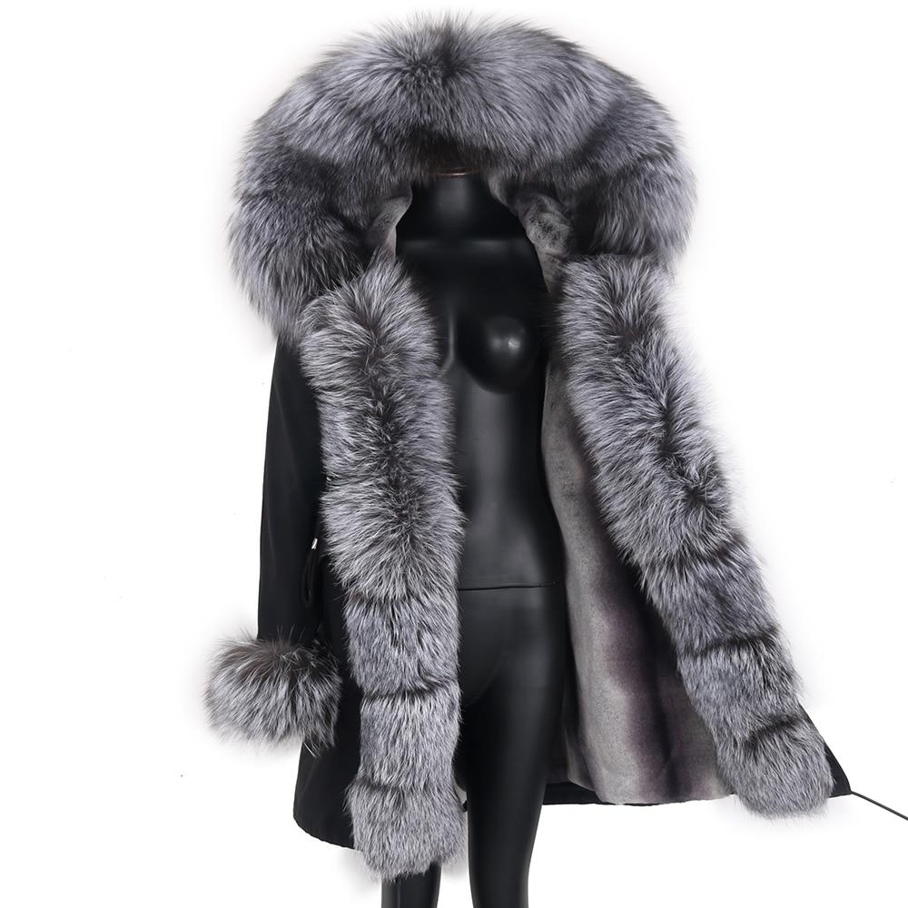 Женская парка с натуральным мехом енота, черная Водонепроницаемая парка со съемным мехом лисы, зима 2021