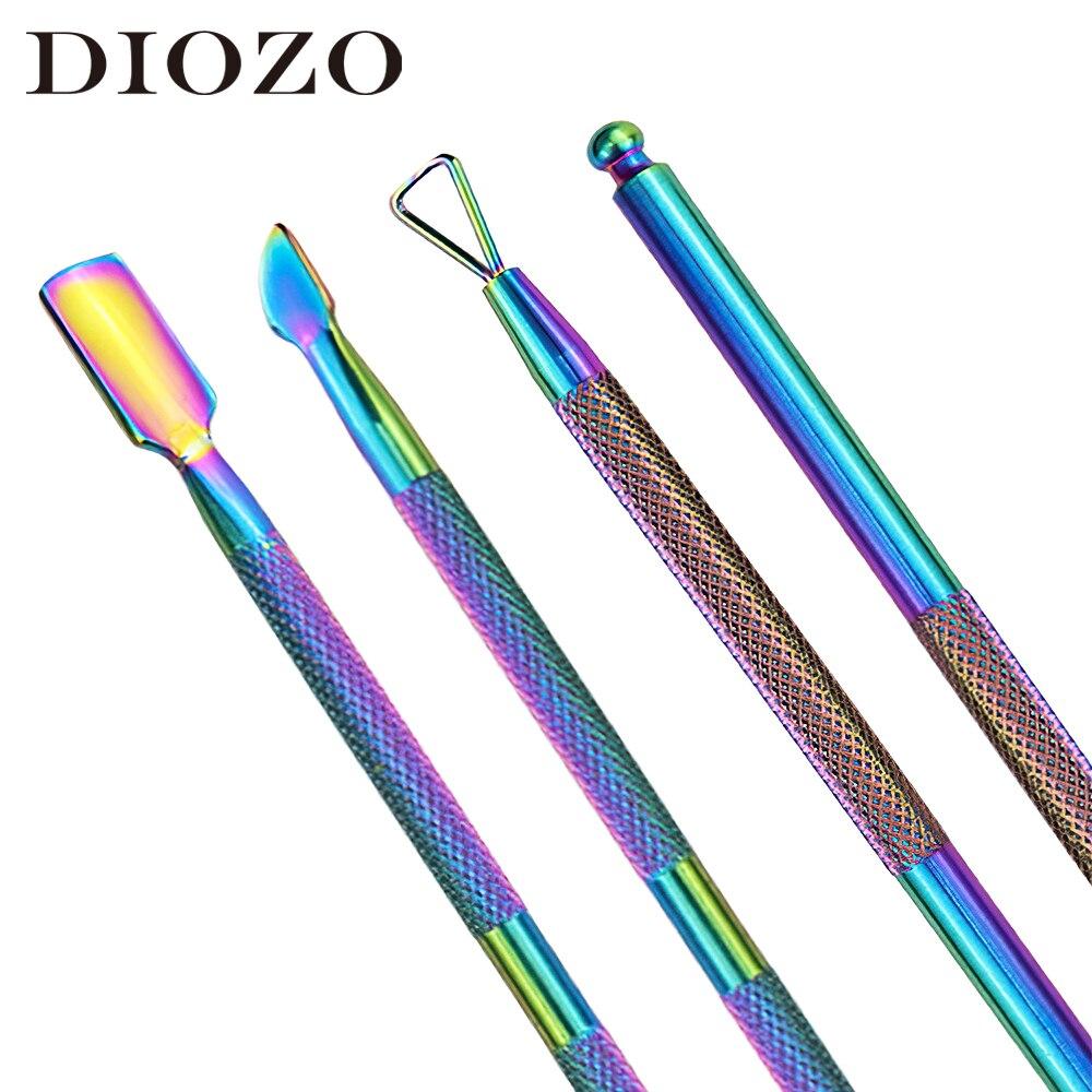DIOZO herramientas de esmalte de uñas 2 uds Set de manicura profesional cuchara empujador removedor cutícula cortador herramienta de Arte de uñas