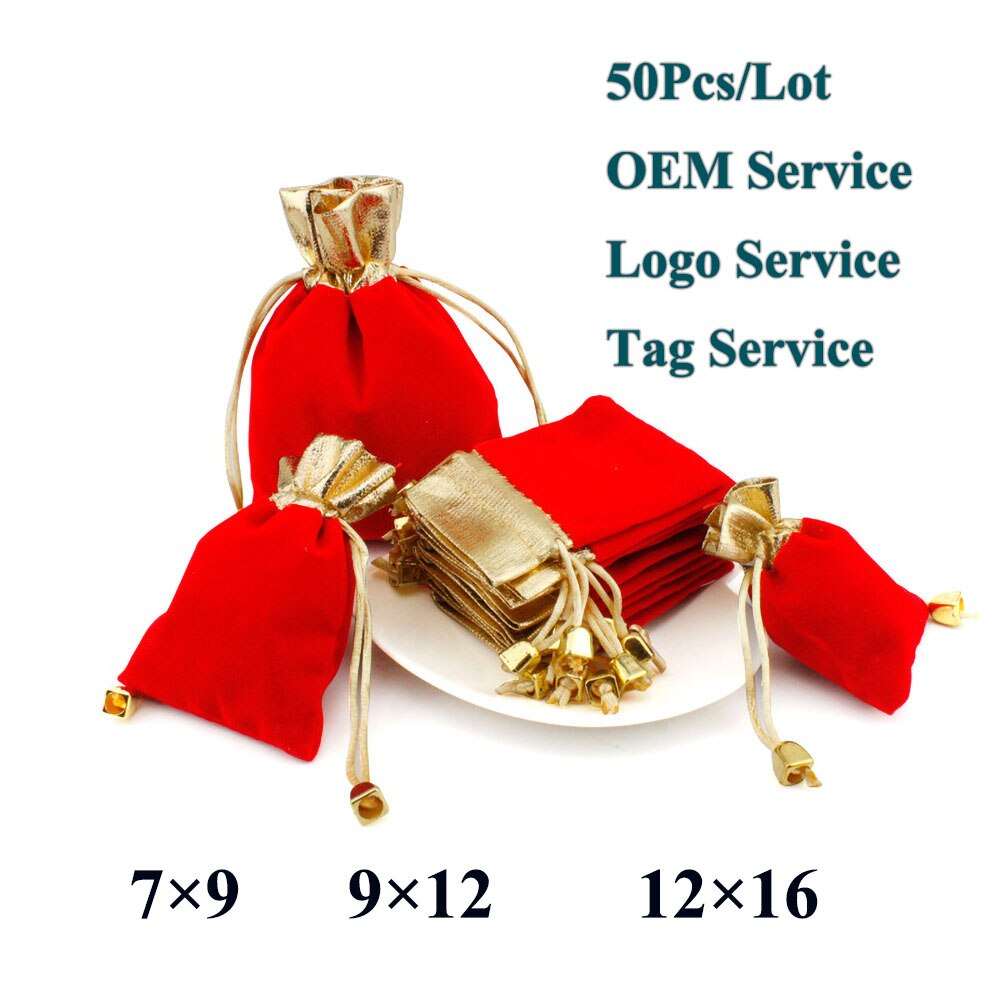 Lote de 50 unidades de bolsa elegante de terciopelo rojo, bolsa de lazo de regalo, bolsa de bolsillo, bolsa de caramelos de boda, logotipo personalizado 7x9, 9x12, 12x16