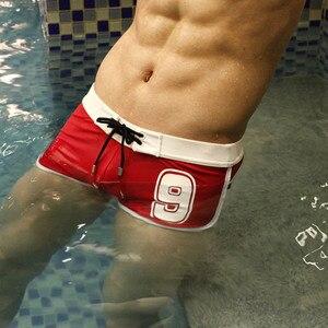 2021 Male Swim Boxers Men Sexy Swimwear Beach Water Sports Swim Surf Board Shorts Hot Letters Swimsuit Bathing Beach Pants