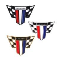 1x camaro flag symbol metal alloy car body emblem badge sticker for camaro ss zl1 rs