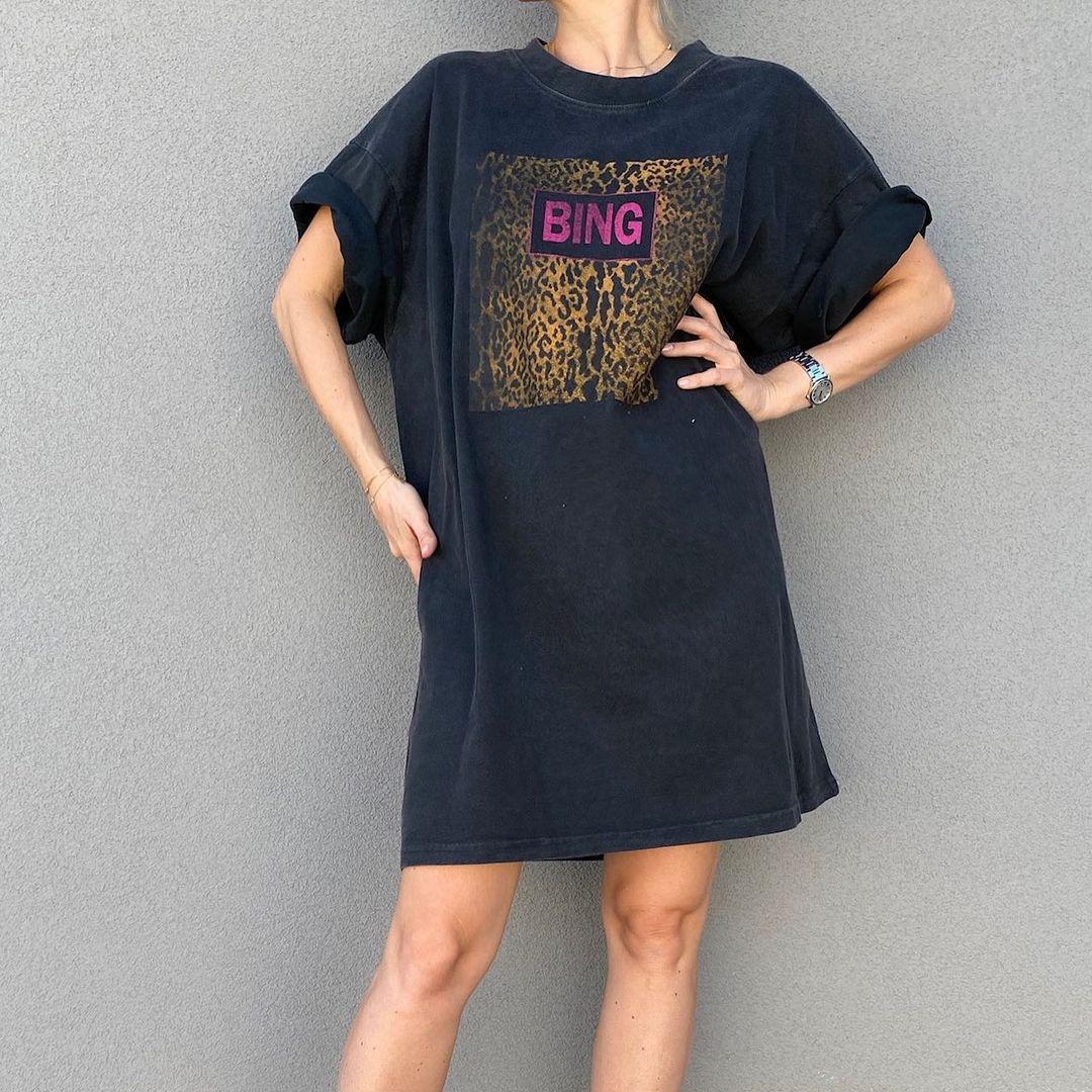 Camiseta desbotada de Leopardo para mujer, vestido de manga corta con cuello...