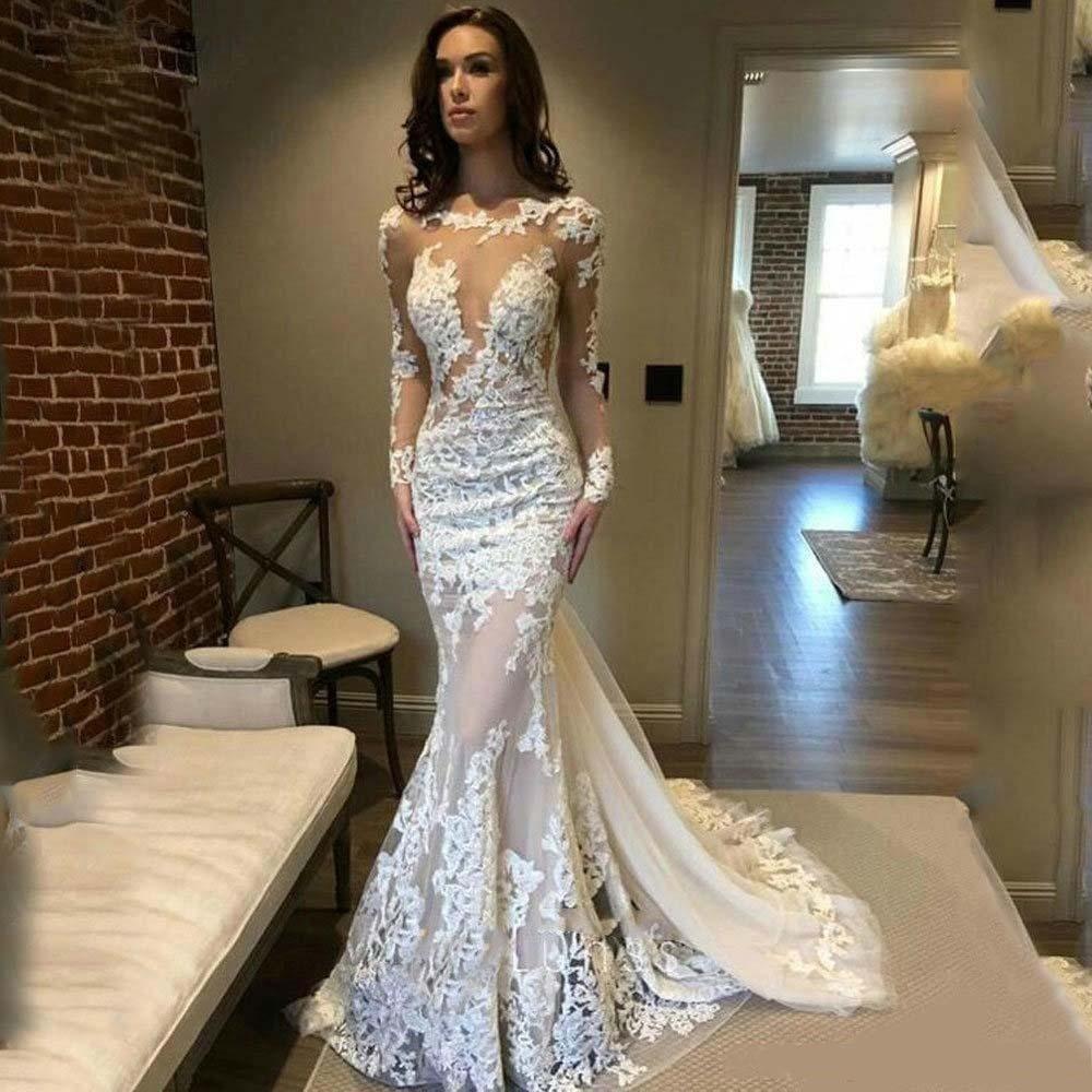 Elegante Berta sirena vestidos de novia sin espalda ilusión Bateau cuello manga larga Sexy encaje trajes de novia en tul batas de mariée