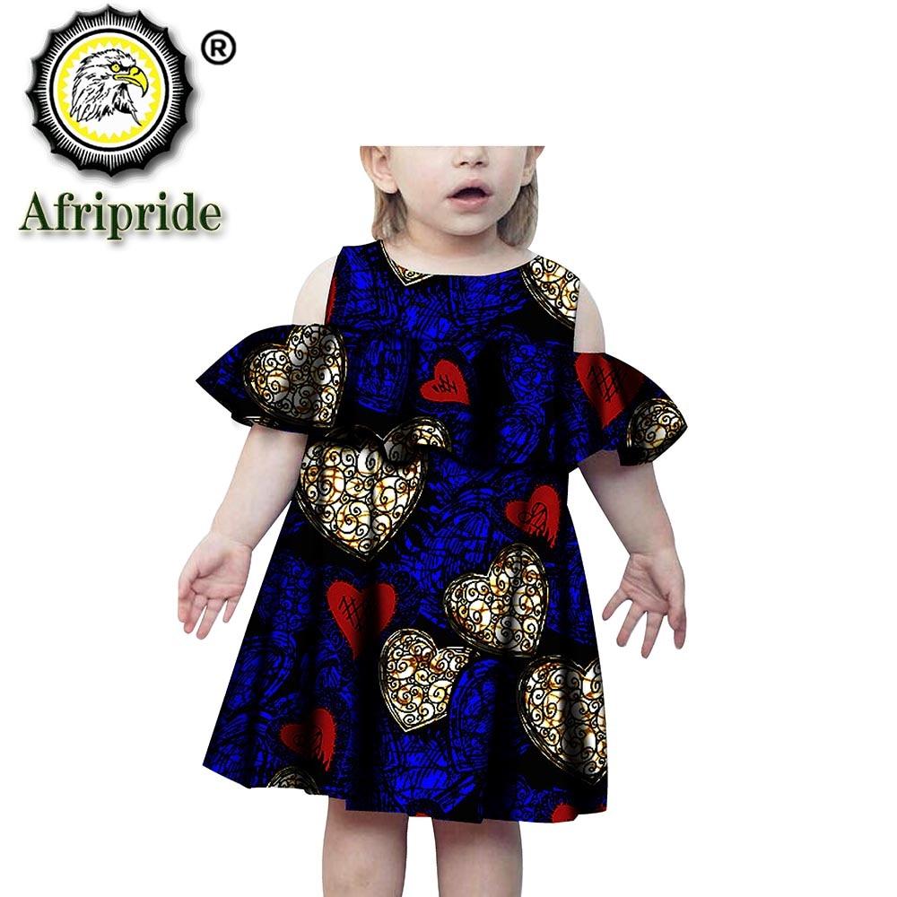 2020 ropa africana para niñas vestido estampado de algodón puro ankara bazin sin mangas ropa Floral personalizada para niños S194001