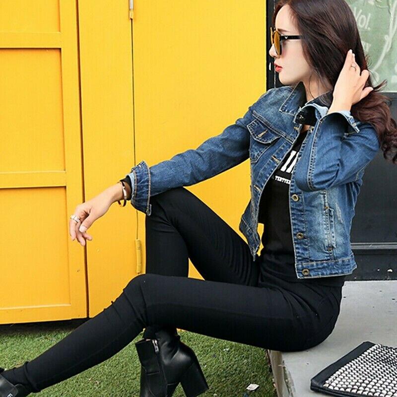 Fashion Women Denim Jacket Coat Jean Casual Pattern Female Basic Coat Slim Windbreaker Pockets Vinta