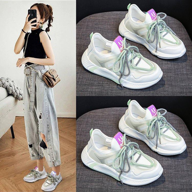 أحذية نسائية صيفية ، أحذية رياضية غير رسمية مسامية ، تناسب كل شيء ، مجموعة جديدة