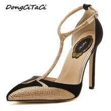 DongCiTaCi Wedding Party Women High heels T-Strap Shoes Woman Pumps Fashion Female Shallow Pointed T