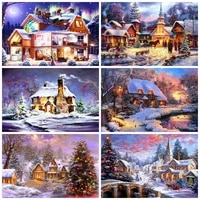 5d diy diamond painting snow scene full diamond embroidery buildings in snow cross stitch kit mosaic home decoration art gifts