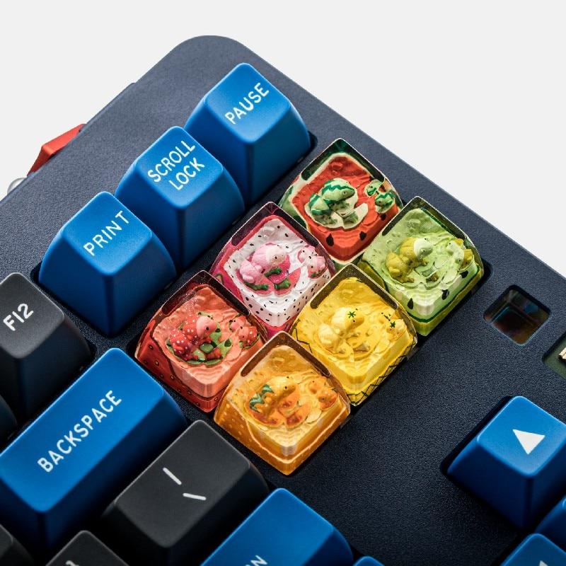 1 قطعة لوحة المفاتيح الميكانيكية اليدوية الراتنج مفتاح غطاء ل MX التبديل الإبداعية مخصصة الفواكه Keycap SA الشخصي
