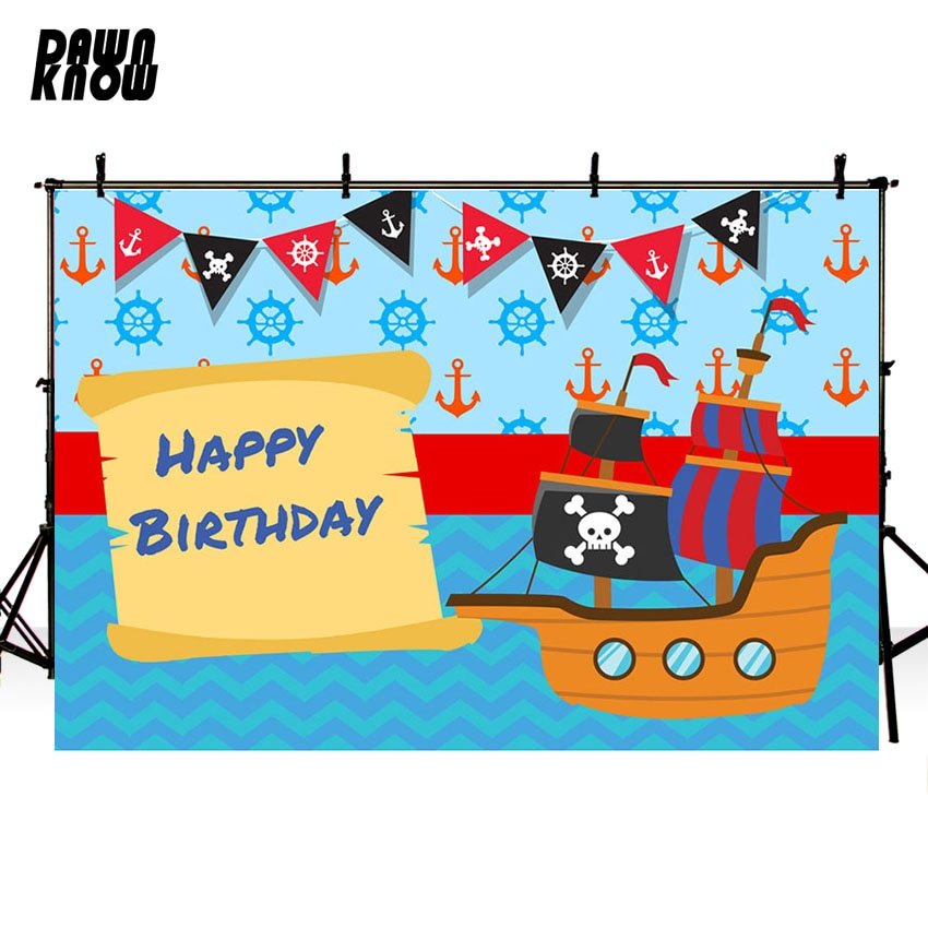 DAWNKNOW Cartoon Ship Vinyl Photography Background For Newborn Photo Shoot Backdrop For Happy Birthday Party Photo Studio G702