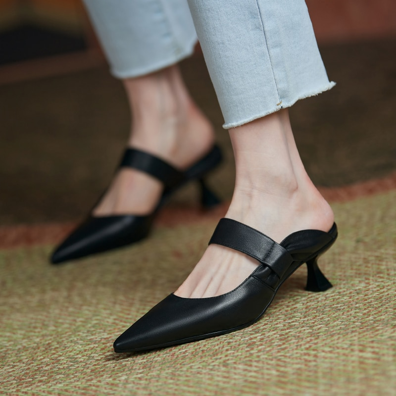 Women High Heels Mule Shoes Quality Leather Black White Pumps Slippers Brand Sexy Point Toe Shoes Party Wedding Women's Shoes
