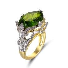 Dames personnalité anneau de luxe femmes incrusté sirène vert Zircon argent couleur anneau populaire femme bijoux fête anniversaire cadeau