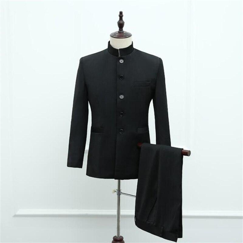 Trajes de túnica chinos para hombre, traje negro para boda, gitana, chaqueta...