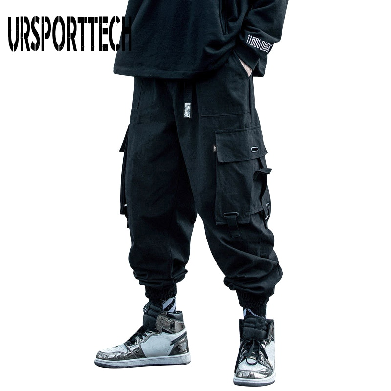 URSPORTTECH 2020 Black Cargo Pants Men Hip Hop Autumn Harem Pant Streetwear Harajuku Jogger Sweatpant Cotton Trousers Male Pants