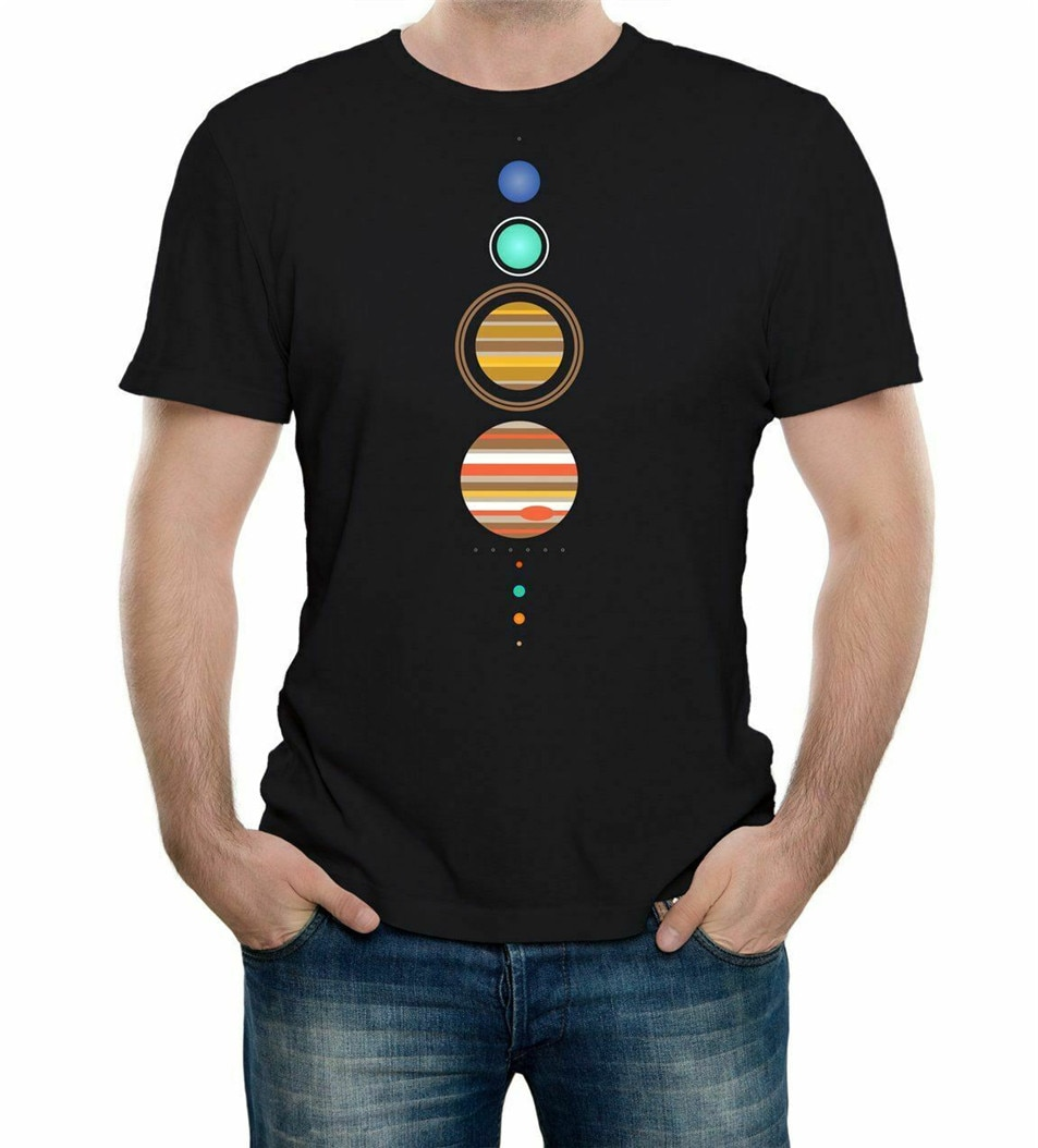 Camiseta del Sistema Solar-divertida camiseta astronomía espacial moda Retro planetas Cool camiseta personalizada impresa