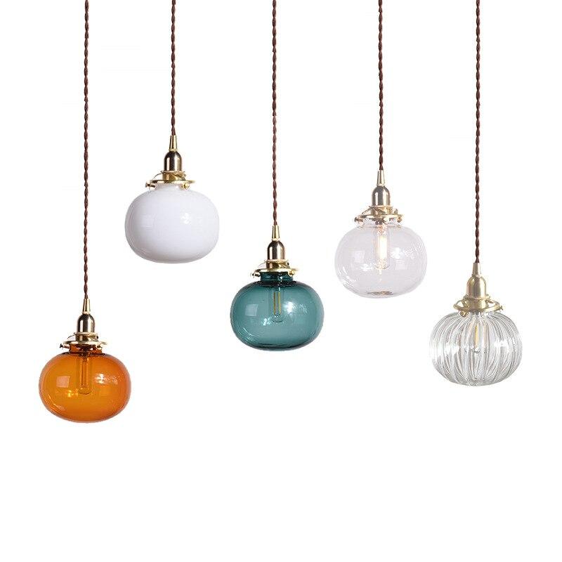 LukLoy الحديثة قلادة نحاس ضوء الزجاج شنقا مصباح الإبداعية شخصية B & B بار غرفة نوم السرير الطعام غرفة كرة زجاجية مصباح