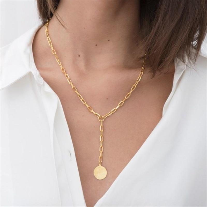 Tarjeta redonda colgante gruesa cadena collar mujer europea y americana moda acero titanio simple Oro retro collar de cadena
