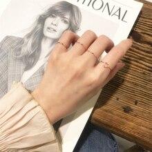 Mode or Rose coeur vague anneaux ensemble pour femmes minimaliste géométrique métal bague à la mode fête bijoux 2021 nouveau