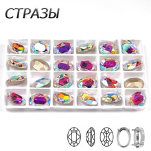 CTPA3bI Cristal AB Material de vidrio de Color cosido en diamantes de imitación con garra de plata/oro o ropa de bricolaje de diamantes de imitación suelta bolsas zapatos