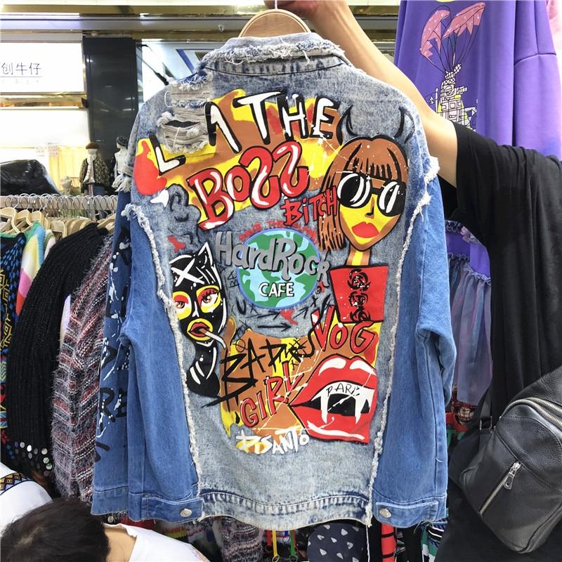 Jeans Coat Women's Spring Autumn Korean-Style Worn Short Jacket Cartoon Graffiti Strange Girl's Denim Jacket Ladies Streetwear