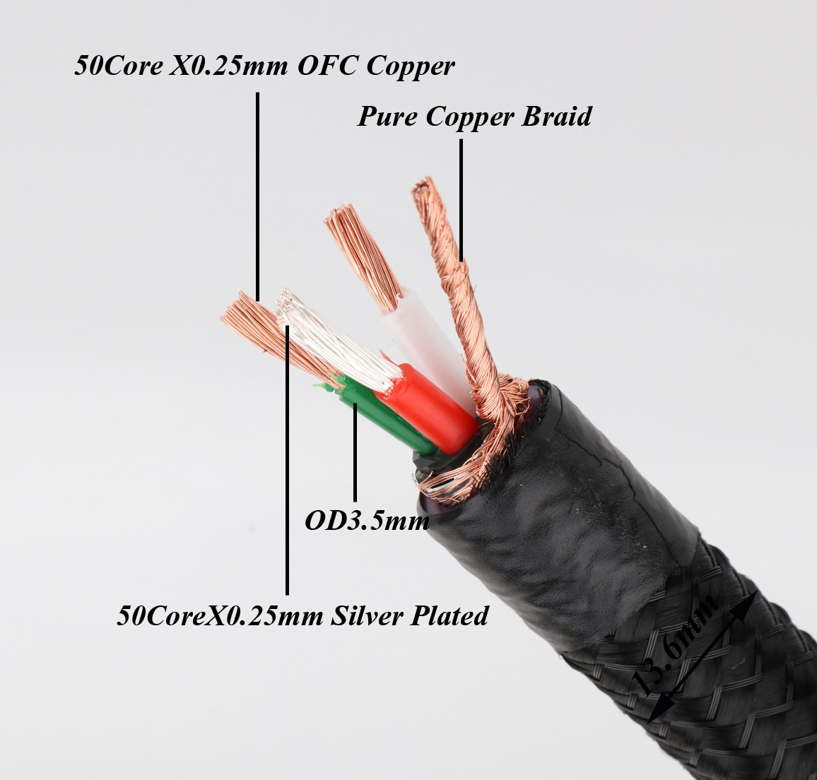 Monosaudio tsunami série p903 cabo de alimentação com 99.998% cobre + prata chapeado hybriad condutor 13awg (2.5 squrex3core)