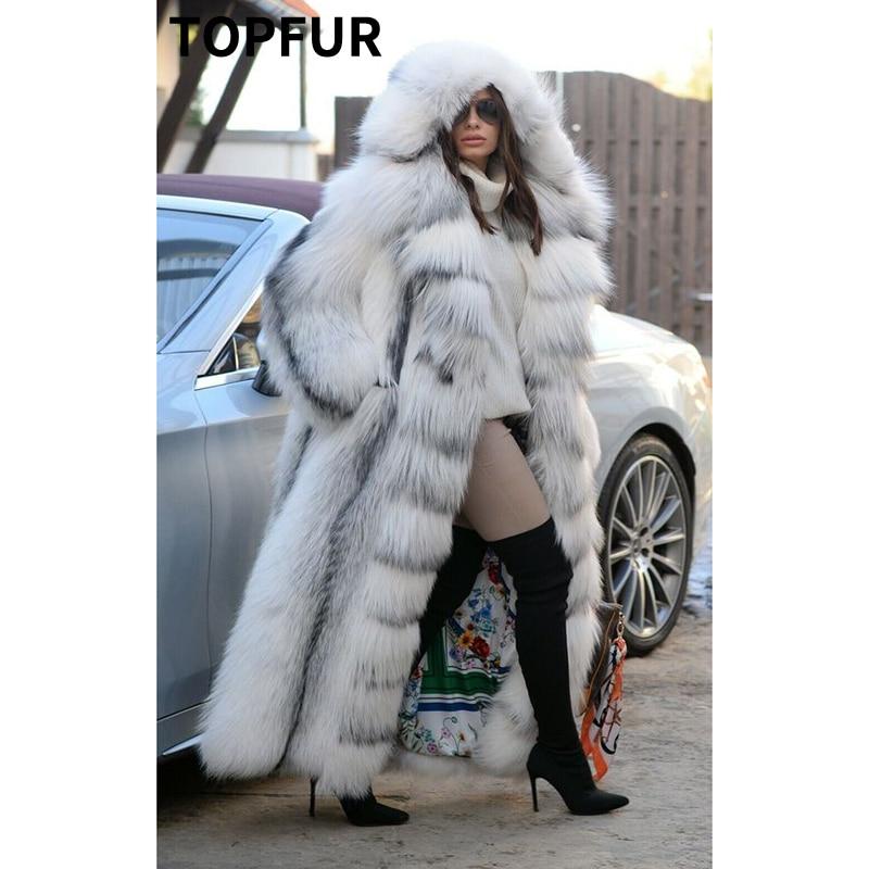 TOPFUR Luxury Natural Real Cross Fox Fur Women Coats & Fur With Hood Long Winter Genuine Full Pelt Fox Fur Jacket Female