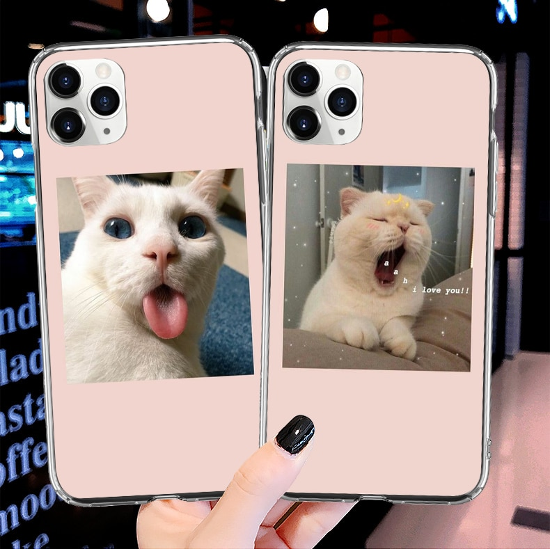 Aesthetic art cute cat and dog soft TPU phone cover case for iPhone 11Pro Max Xr XS SE2020 5S 6 7 8Plus X10 clear silicone Shell