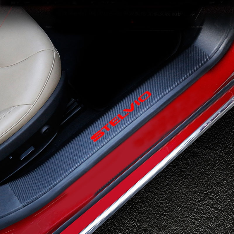 4PCs Carbon Fiber Pu leather Door Threshold Guard For Alfa Romeo Stelvio Car Door Sill Scuff Plate P