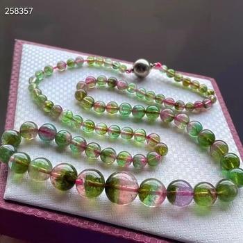 Genuine Natural Watermelon Tourmaline Quartz Gemstone Clear Beads Necklace 4.2/13mm Women Green Red Tourmaline Jewelry AAAAAA
