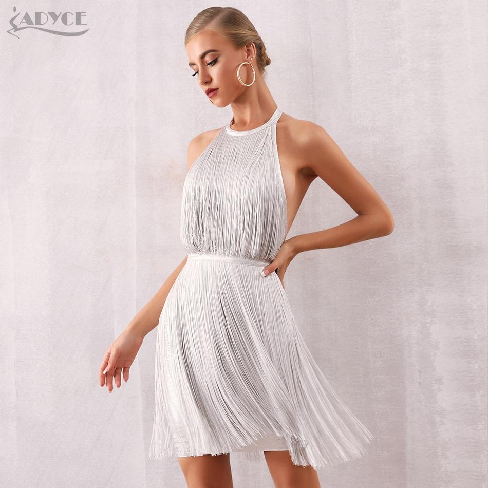 Adyce femmes Bandage robe Vestidos Verano 2020 nouveau été Sexy célébrité soirée robe nue Maxi glands frange Club robe