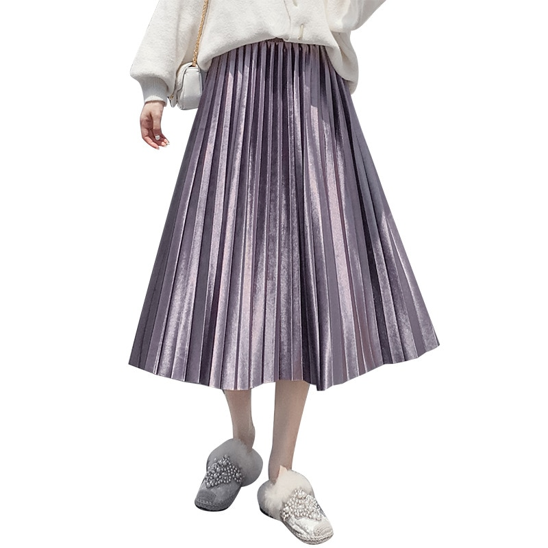 High Quality Photo Shoot Fall And Winter Clothes New Style Korean-style Gold Velvet Gold Skirt Mid-length Expandable High-waist