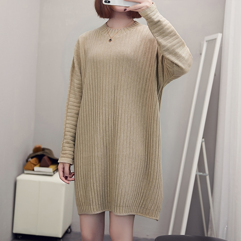 LUKAXSIKAX 2020 New Autumn Winter Women Plus Size Loose Dress High Quality Elegant Solid Color Knitted Sweater