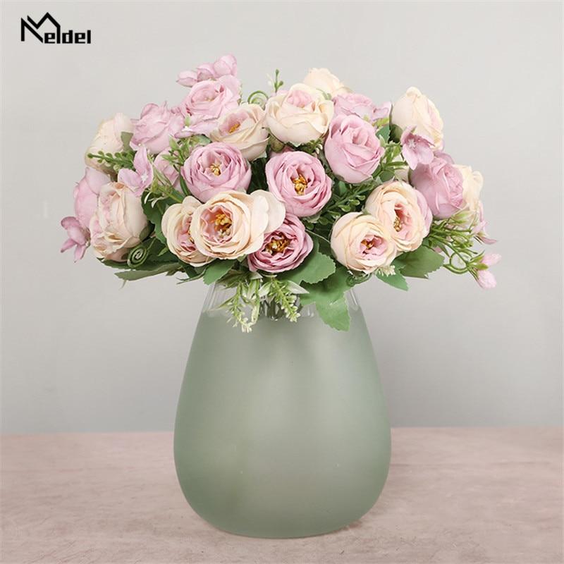 10 kepala bunga buatan bunga mawar pengiring pengantin 5 cawangan - Aksesori perkahwinan - Foto 6
