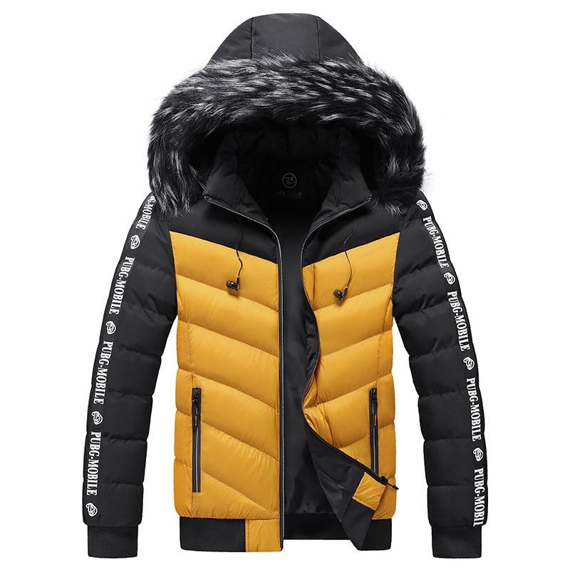 Winter Jacket Men 2021Fur Collar Hooded Thick Warm Cotton Outwear Man Patchwork Parka and Coats Windbreaker Parkas Male M-5XL