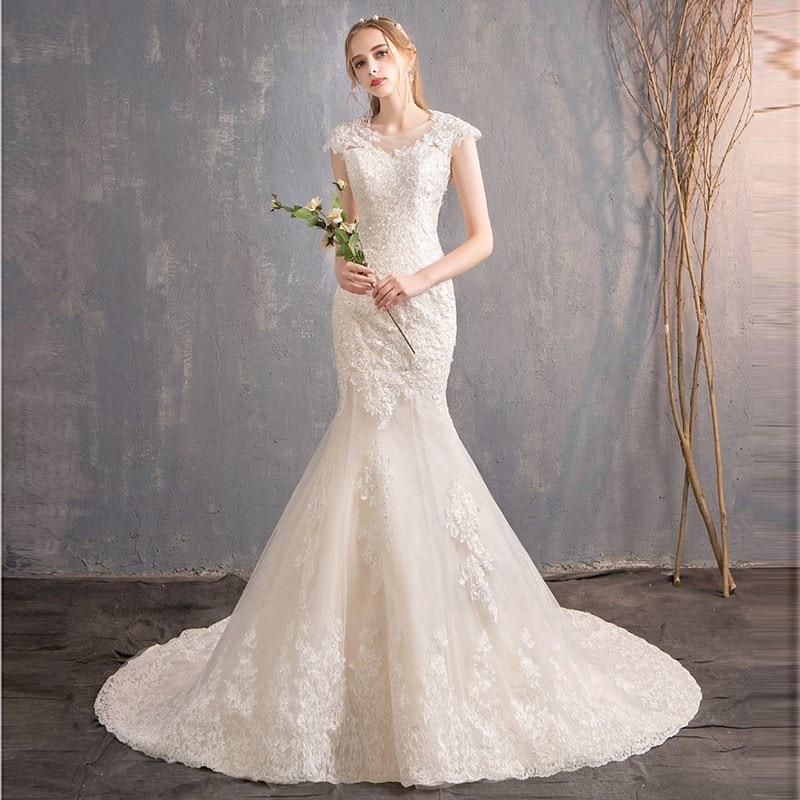 Vestido De novia De sirena, nuevo, lujoso, Grande, con bordado De encaje,...