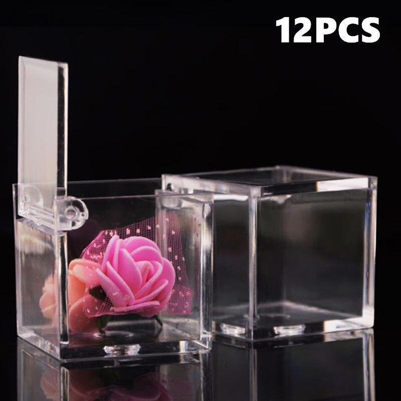 Caja de plástico transparente para golosinas, 12 Uds., regalos, recuerdo de cumpleaños, titular de la boda, cajas de dulces de Chocolate, cajas dulces para fiesta