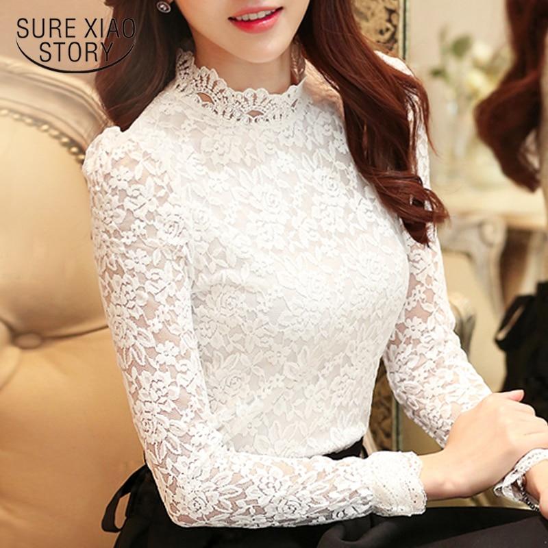 Plus Size Tops Fashion Woman Blouses 2019 White Lace Blouse Shirt Long Sleeve Women Shirts Blusas Femininas Women Blouse 1695 50