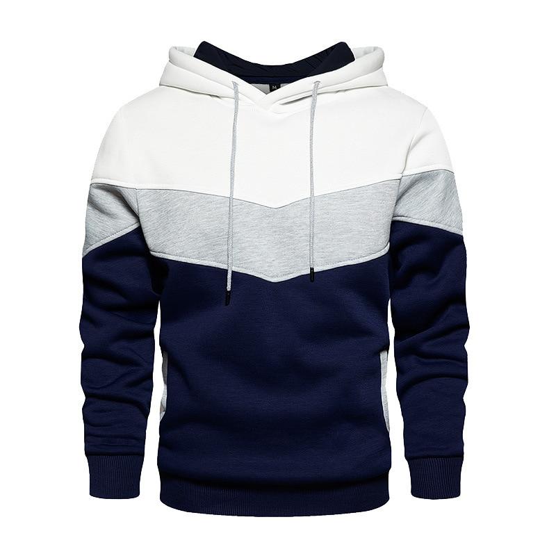 Осень-зима 2021, толстовки с капюшоном с несколькими вставками, новая модная мужская толстовка с длинным рукавом, теплая плюшевая толстовка с капюшоном, повседневное пальто