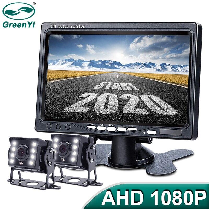 GreenYi 1920*1080 haute définition AHD camion Starlight Vision nocturne caméra de recul 7 pouces véhicule moniteur inverse pour voiture de Bus