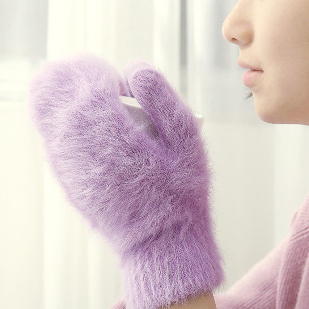 Симпатичные перчатки из кроличьей шерсти, женские зимние варежки, меховые перчатки от производителя, перчатки без пальцев, зимние перчатки,...
