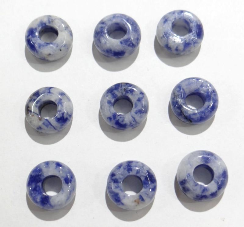 Venta al por mayor 10 piezas de piedra de sodalita Natural 10mm cuentas espaciadoras de agujero grande para joyería Fabricación de pulsera COLLAR COLGANTE Accesorios