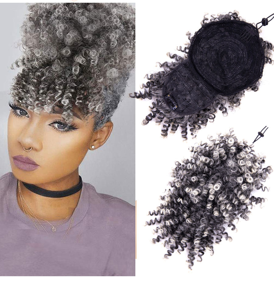 Leeons Curly Bangs Synthetic Kinky Curly Hair Bangs Clips On Hair Extentions Curly Fringe Hairpieces