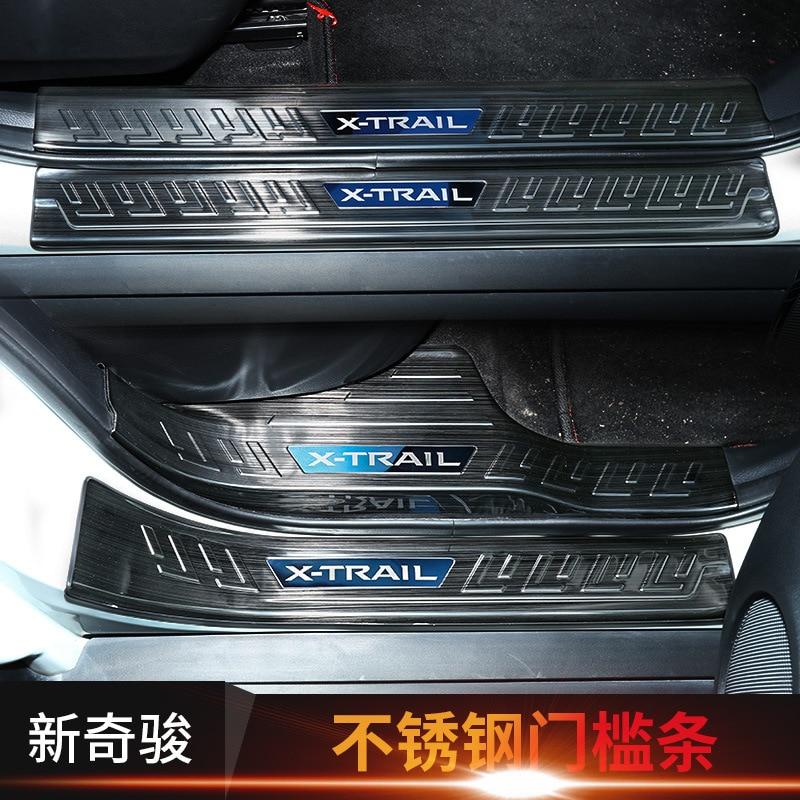 Pegatinas de coche de acero inoxidable de alta calidad, Protector de placa rascadora de umbral de puerta para Nissan Rogue x-trail 2017 2018 2019 X trail T32