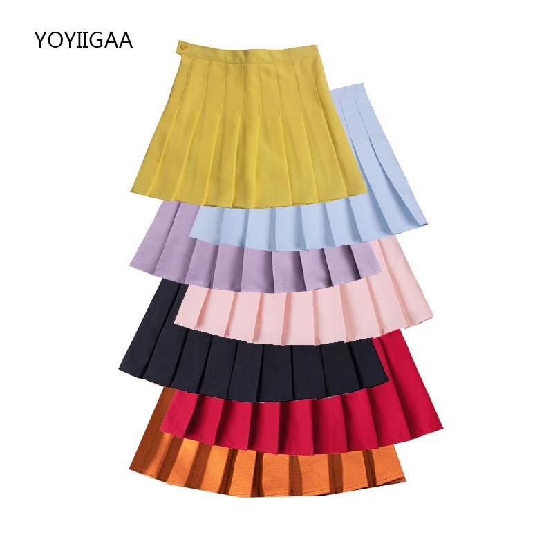 Summer Women Skirt High Waist A-Line Female Pleated Skirts Sweet Cute Ladies Girls Dance Mini Skirt Solid Color Woman Skirts