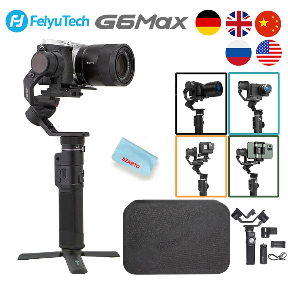 FEIYUTECH G6 ماكس 3-المحور يده كاميرا Gimbal استقرار ل المرايا كاميرا جيب كاميرا GoPro بطل 7 6 5 الهاتف الذكي