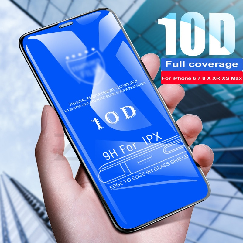 10D Tempered Glass For iphone X XS 11 Pro Max XR 7 8 Screen Protector 5s protective Glass on iphone